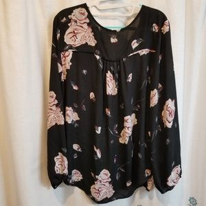 Black and floral longsleeve shirt